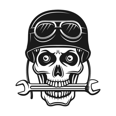 Biker skull in helmet with goggles and wrench in mouth vector monochrome illustration isolated on white background