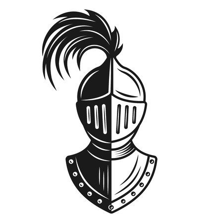 Knight helmet vector monochrome illustration isolated on white background