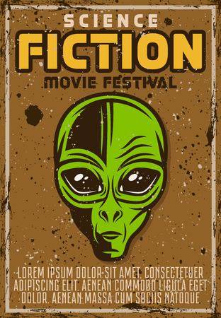 Science fiction movie fest advertising poster in vintage style with alien head vector illustration. Layered, separate grunge texture and text