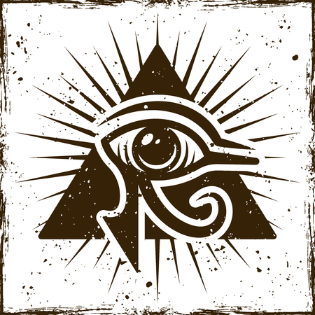 Eye of horus in triangle, ancient egyptian symbol on background with removable textures