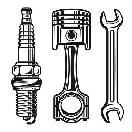 Le parti di riparazione del motociclo o dell'automobile hanno messo degli oggetti dettagliati di vettore e degli elementi di progettazione nello stile monocromatico isolati su fondo bianco
