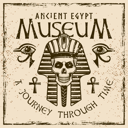 Pharaoh with headline museum of ancient egypt colored emblem, label or banner on background with grunge textures and frame vector illustration