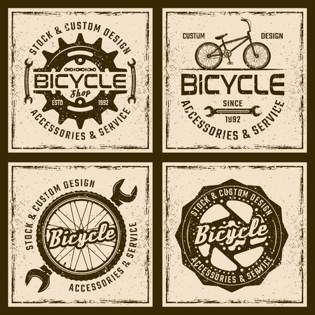 Bicycle shop and service four colored emblems or shirt prints on background with grunge textures and frame vector illustration Illustration