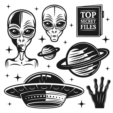 Aliens and ufo set of paranormal activity vector objects and design elements in monochrome style isolated on white background Vectores