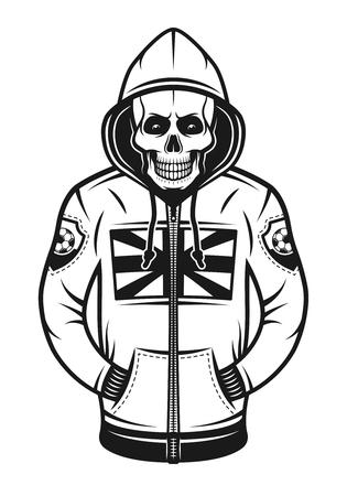 Cráneo de hooligan de fútbol con capucha con estampado de bandera británica en la ilustración de vector de cofre en estilo vintage monocromo aislado sobre fondo blanco