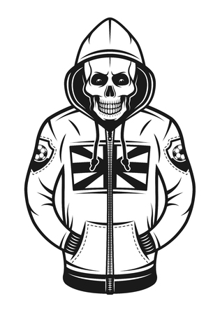 Soccer hooligan skull in hoodie with british flag print on chest vector illustration in monochrome vintage style isolated on white background