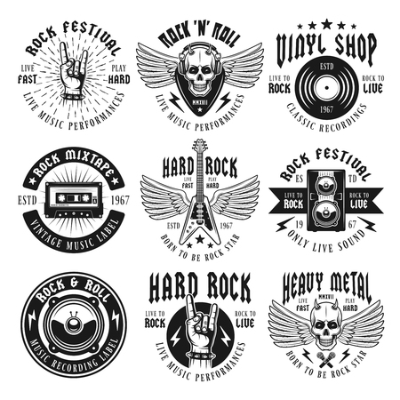 Rock and heavy metal music set of nine vector emblems, labels, badges or logos in vintage monochrome style isolated on white background Vectores