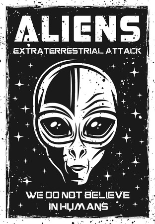 Vintage poster with alien head vector illustration with grunge textures and headline text on separate layer Vectores