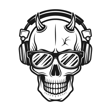 Devil skull head with horns wearing sunglasses and listening music in headphones. Vector illustration in monochrome vintage style isolated on white background Vectores