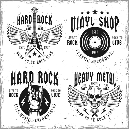 Set of four rock music vector emblems, labels, badges or logos in vintage style isolated on background with removable textures part Vectores