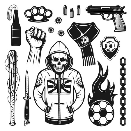 Soccer hooligans attributes set of vector objects and design elements in monochrome vintage style isolated on white background Illustration