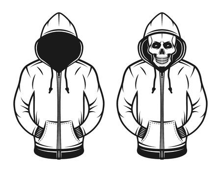 Hoodie with blank face and with skull set of two vector objects or design elements in vintage style isolated on white background Foto de archivo - 99850831