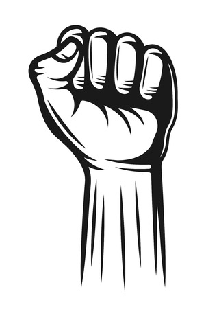 Hand with fingers folded into a fist pointing up vector detailed illustration in monochrome style isolated on white background