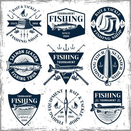 Fishing set of nine vector emblems, labels, badges or logos in vintage style on white background with removable textures