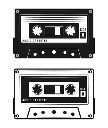 Audio cassette tape two style black vector illustration isolated on white background Illustration