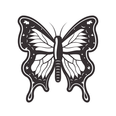 Butterfly top view black vector illustration isolated on white background