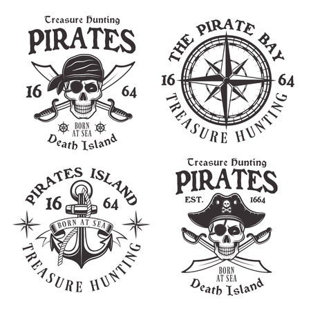 Set of four pirates vintage emblems, labels, and logos. Vector illustration in monochrome style isolated on white background