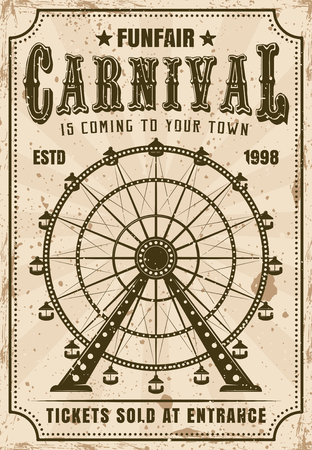 Carnival vector invitation poster in retro style with ferris wheel for advertisement amusement parks. Layered, separate grunge texture and text Ilustração