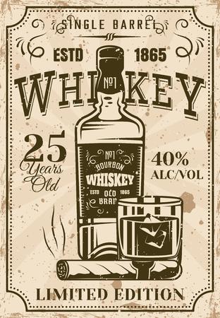 Bottiglia di whisky con poster vintage di vetro e sigaro per istituzione pubblicitaria o presentazione di prodotti alcolici. Illustrazione vettoriale a strati con texture grunge e testo di esempio Vettoriali