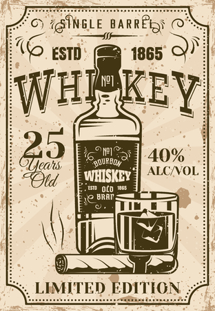 Bottle of whiskey with glass and cigar vintage poster for advertising institution or alcohol products presentation. Layered vector illustration with grunge texture and sample text Ilustração