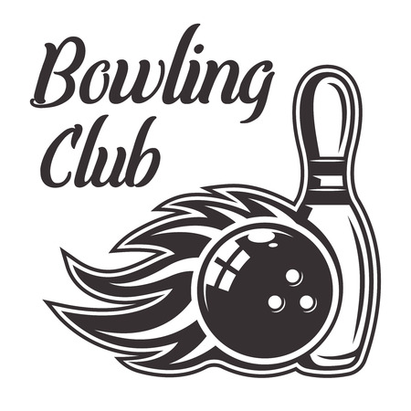 Bowling ball with flame and skittle vector illustration in monochrome vintage style.