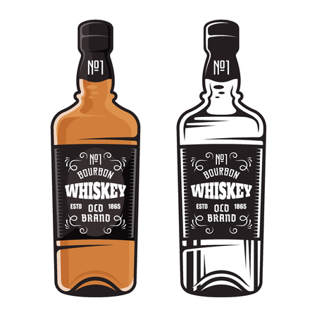 Bottle of whiskey two styles vector illustration colored and black, isolated on white background.