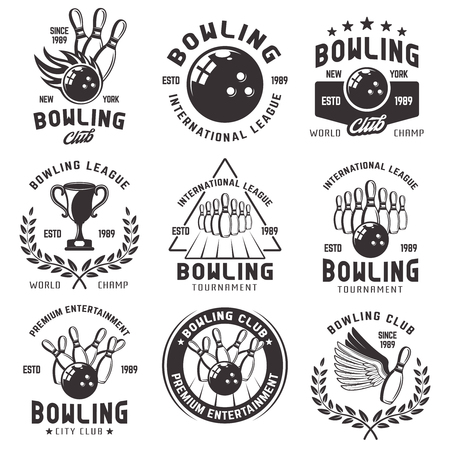 Bowling set of vector emblems, badges and labels in vintage monochrome style isolated on white background.