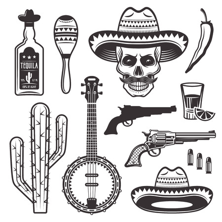 Mexican ethnic attributes set of vector objects and graphic elements in monochrome vintage style isolated on white background  Ilustração
