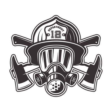 Fireman head in helmet, gas mask and two crossed axes vector illustration in monochrome style isolated on white background