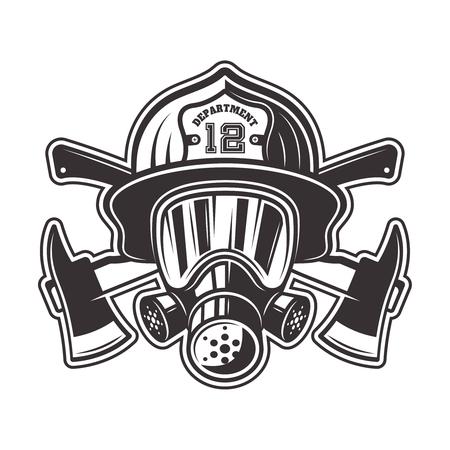 Cabeza de bombero en casco, máscara de gas y dos ejes cruzados ilustración vectorial en estilo monocromo aislado sobre fondo blanco.