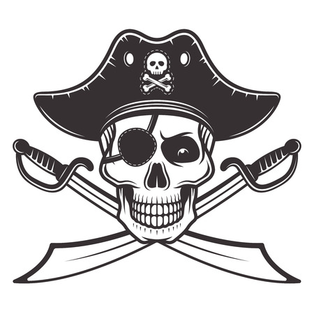 Pirate skull in hat and eyepatch with two crossed sabers vector illustration in monochrome style isolated on white background Illustration