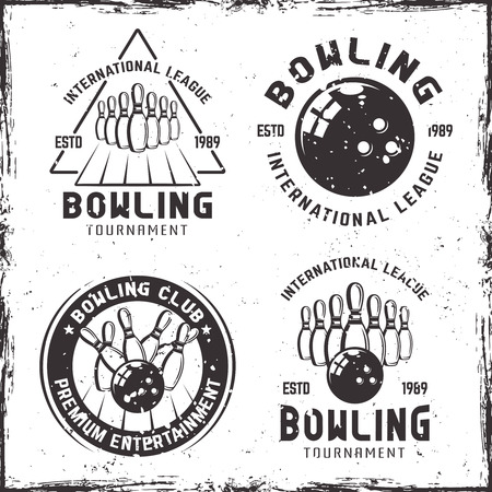 Bowling set of four vintage emblems, labels, badges or icon on background with removable grunge textures.