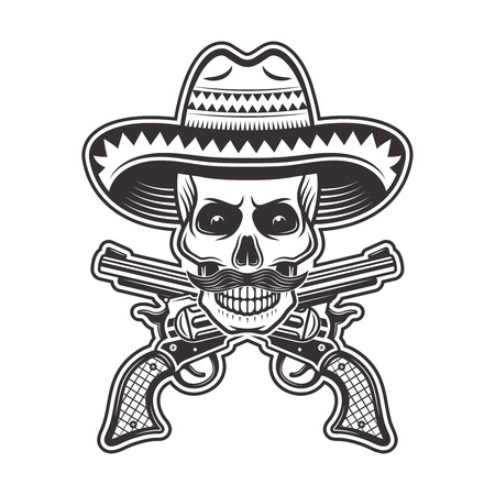 Skull of mexican bandit in sombrero hat, with mustache and crossed guns vector illustration in monochrome style isolated on white background