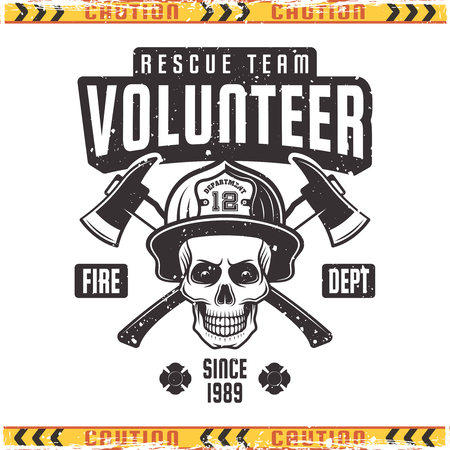 Fireman skull in helmet with two crossed axes vector emblem in vintage style isolated on background with grunge textures.