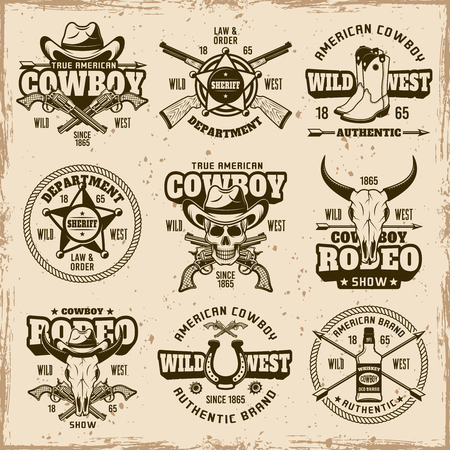 Wild west, sheriff department, cowboy rodeo show set of vector brown emblems, labels, badges and logos in vintage style on dirty background with stains and grunge textures Illustration