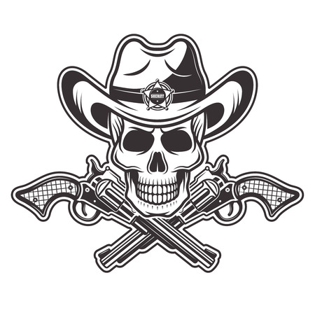 Sheriff skull in cowboy hat with star and two crossed guns vector illustration in monochrome style isolated on white background Illustration
