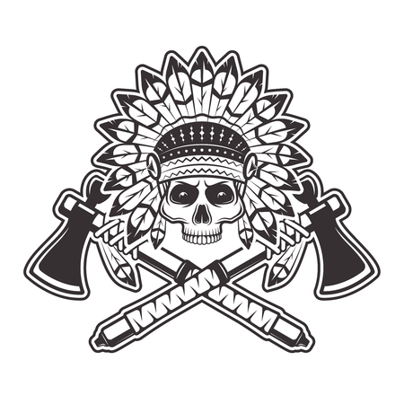 Indian chief skull front view in headdress with feathers and two crossed tomahawks or hatchets vector illustration in monochrome vintage style isolated on white background
