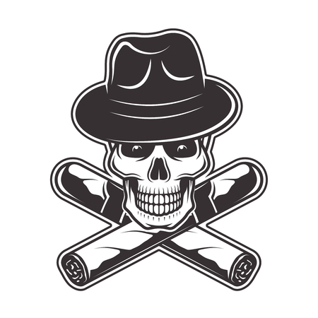 Skull in gangster hat and two crossed cigars vector illustration in monochrome style isolated on white background Illustration