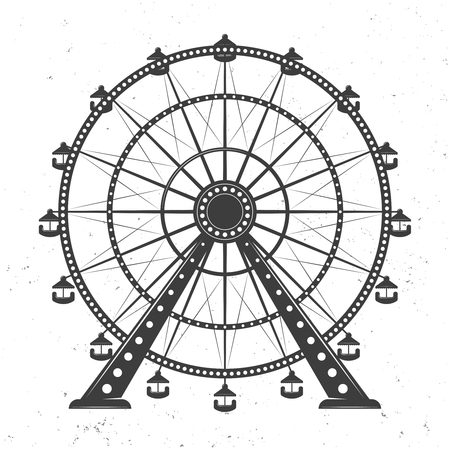 Ferris wheel vector monochrome illustration isolated on white background with texture