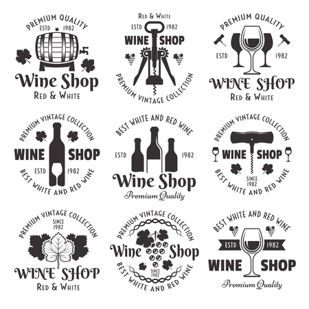 Wine shop set of vector black vintage emblems, labels, badges and logo templates isolated on white background