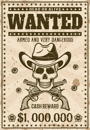 Wanted vintage western poster template with cowboy skull in hat, crossed guns, bullet holes vector illustration for thematic party or event. Layered, separate grunge texture and text