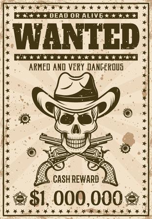 Se busca plantilla de cartel occidental vintage con calavera de vaquero con sombrero, pistolas cruzadas, ilustración de vector de agujeros de bala para fiesta temática o evento. Texto y textura grunge separados en capas