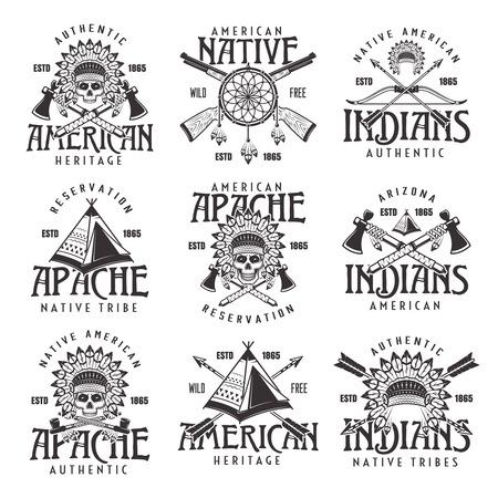 Indios nativos americanos, tribu apache conjunto de emblemas vintage vectoriales, etiquetas, insignias y logotipos en estilo monocromo aislado sobre fondo blanco.