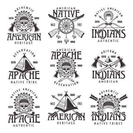 Native american indians, apache tribe set of vector vintage emblems, labels, badges and logos in monochrome style isolated on white background 일러스트