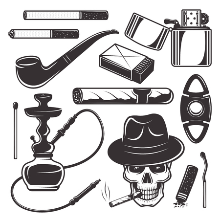 Smoking tools and accessories, tobacco products set of vector black design elements, objects, symbols isolated on white background