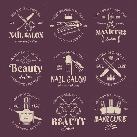 Manicure salon set of vector colored emblems, labels, badges and templates on purple background. Nail care and nails art studio or beauty salon