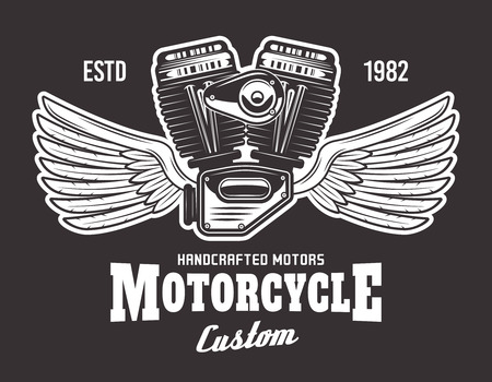Motorcycle engine with wings and sample text vector illustration on dark background