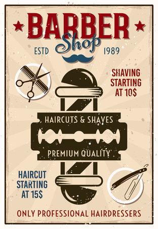 Barber shop vintage colored poster with pole and razor blade vector illustration Illustration