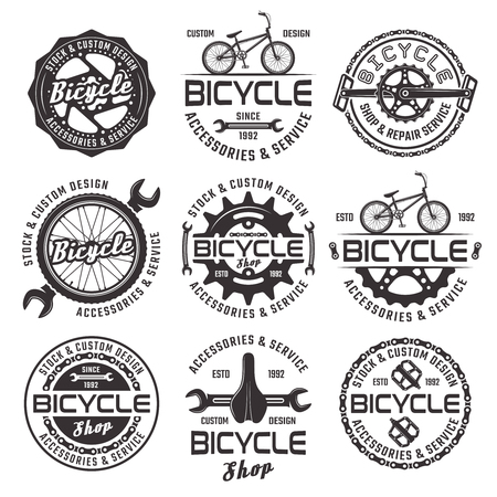 Bicycle shop set of vector black emblems, badges and labels isolated on white background. Bike repair service nine  in vintage style Ilustração