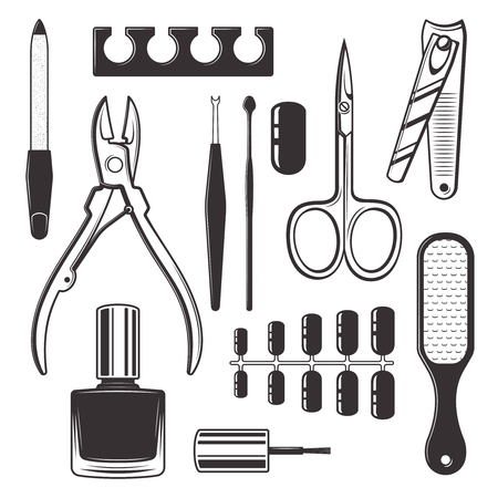 Manicure and pedicure equipment kit set of vector monochrome objects isolated on white background. Nail care tools and accessories black icons and design elements